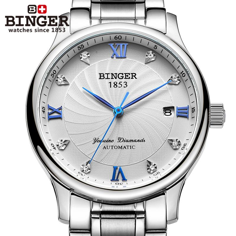 Switzerland BINGER Men's Watch Luxury Brand 18K Gold Diamond Watches Mechanical clock full stainless steel Wristwatches B-603M-5 switzerland binger watches women fashion luxury 18k gold color watch quartz sapphire full stainless steel wristwatches b3035 2