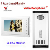 Yobang Güvenlik 4 adet daire interkom sistemi video kapı zili interkom sistemi için daireler görüntülü kapı telefonu gece görüş