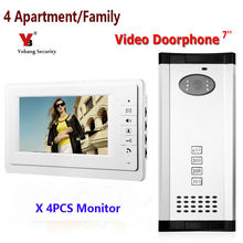 Yobang Security 4 units apartment intercom system video doorbell intercom system for apartments video door phone night vision