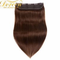 Doreen 16inch 22inch 4 Chocolate Brown Brazilian Hair One Piece 5 Clips In Human Hair Extensions