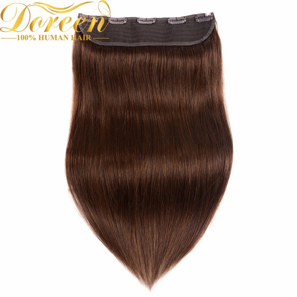 Doreen #1 #1b #2 #4 #8 100g 120g Brown Brazilian Machine Made Remy Clip In One Piece Human Hair Extensions Thicker 16inch-22inch