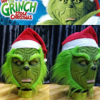 Christmas Geek Grinch Latex Mask with Long Green Hair Christmas Hat Funny Head Mask Latex Helmet Home Party Cosplay Props
