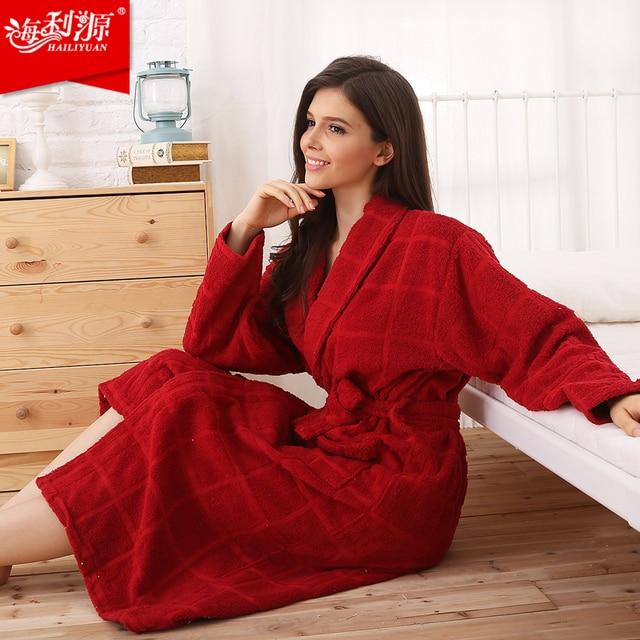 0116d9803d Hilift 100% terry cotton bathrobes 100% cotton bathrobe female robe lovers