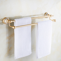 Space Aluminum Towel Rack Double Bathroom Towel Bar Golden Blue And White Porcelain Bathroom Towel Rack