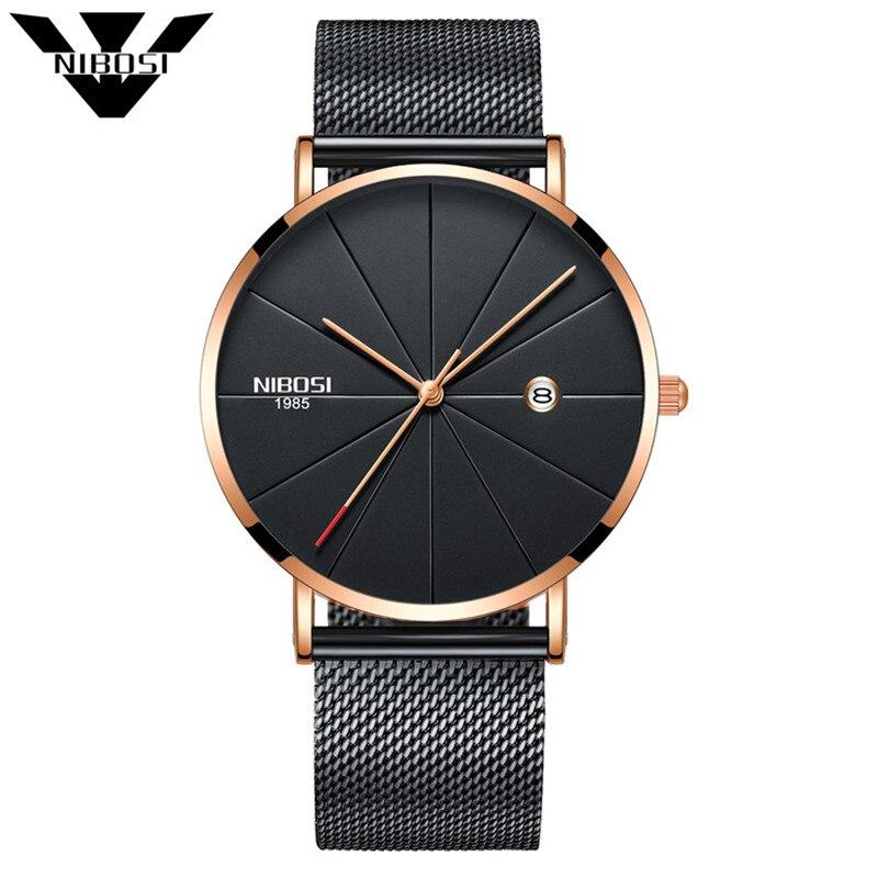 Nibosi Relojes de cuarzo hombres y mujeres del reloj de lujo famosa Top marca de moda reloj cuarzo relojes delgado con milanesa prohibición