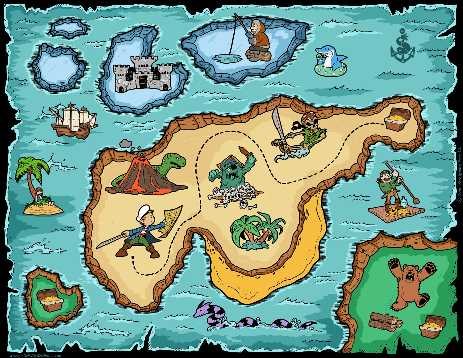 Pop Art Pirate Pete Treasure Map Posters Retro Vintage Kraft Poster Decorative Wall Sticker Home Decoration Gift For Kids In Stickers From