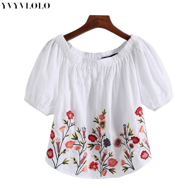2068f64d7 YVYVLOLO mujer flores bordado camisa blusas de encaje bordado floral camisa  de mujer suelta corta blusas