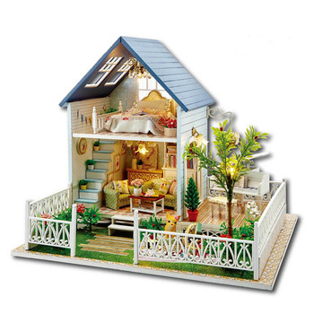 DIY Doll House Nordic Hoilday Wooden Dollhouse Home Decoration Crafts Miniature Assembling Creative Handmade Building Gift Doll