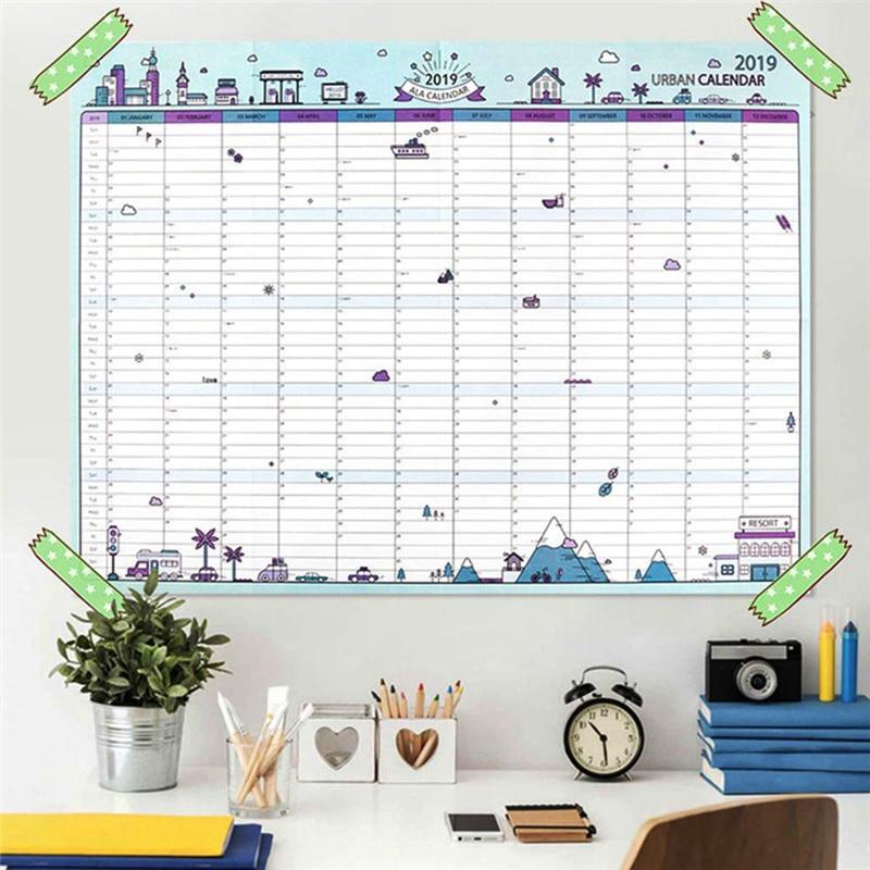 2019 Jährlich Mit Aufkleber Punkte Poster Stil Veranstalter Studie Agenda Papier Jährliche Zeitplan Wand Planer Kalender Schreibwaren Büro Kalender, Planer Und Karten