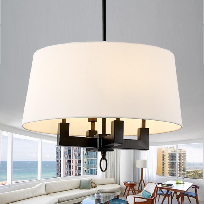 pastoral Nordic American style retro nostalgic fabric shade black Iron pendant light living room dining room hanging lighting