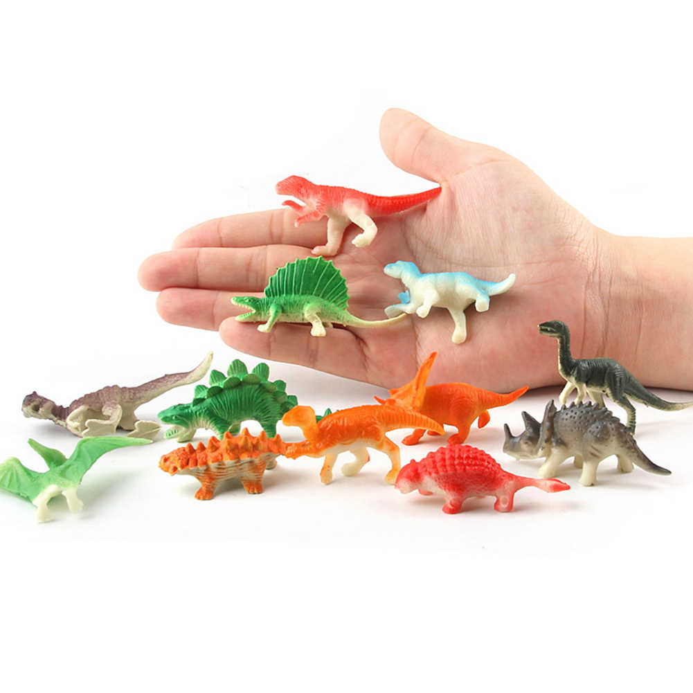 12pcs Play Collection Gift Animals Mini Dinosaur Model Simulation Toy Action Figures Desktop Cute For Kids Jurassic Decorations