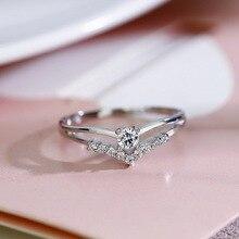 Seanlov V Silver Rings Heart Zircon Women Wedding Accessories Color For Fashion Jewelry