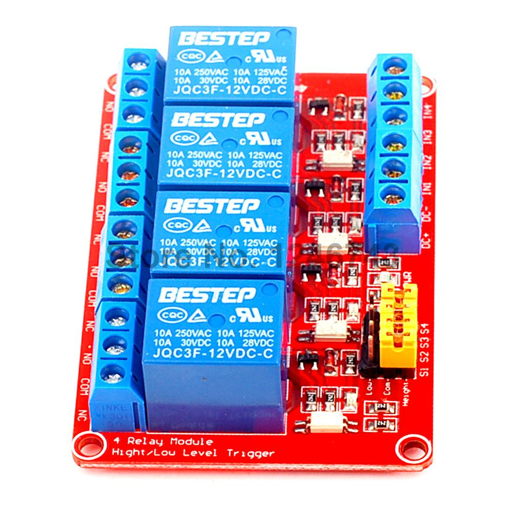 1PCS 4 Channel 12V Relay Module 4-Channel Module High and Low Trigger Red Board