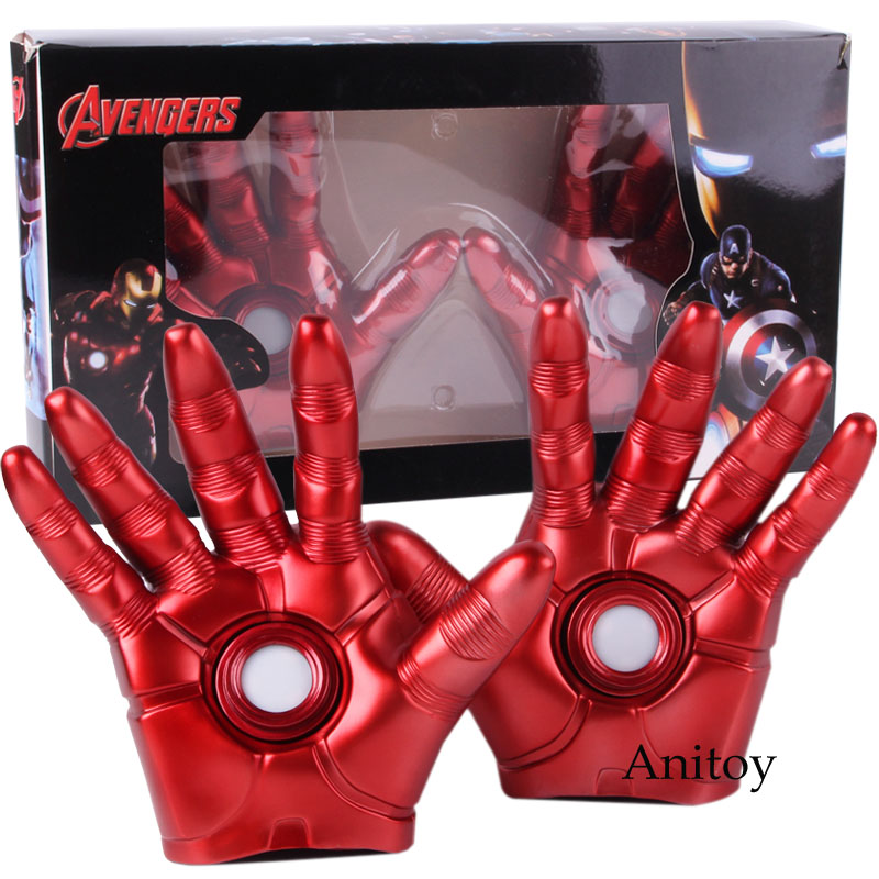 Marvel Avengers Infinity War Iron Man Glove Led Ironman Gloves PVC Figure Collectible Model Cosplay Toys 2-Pack