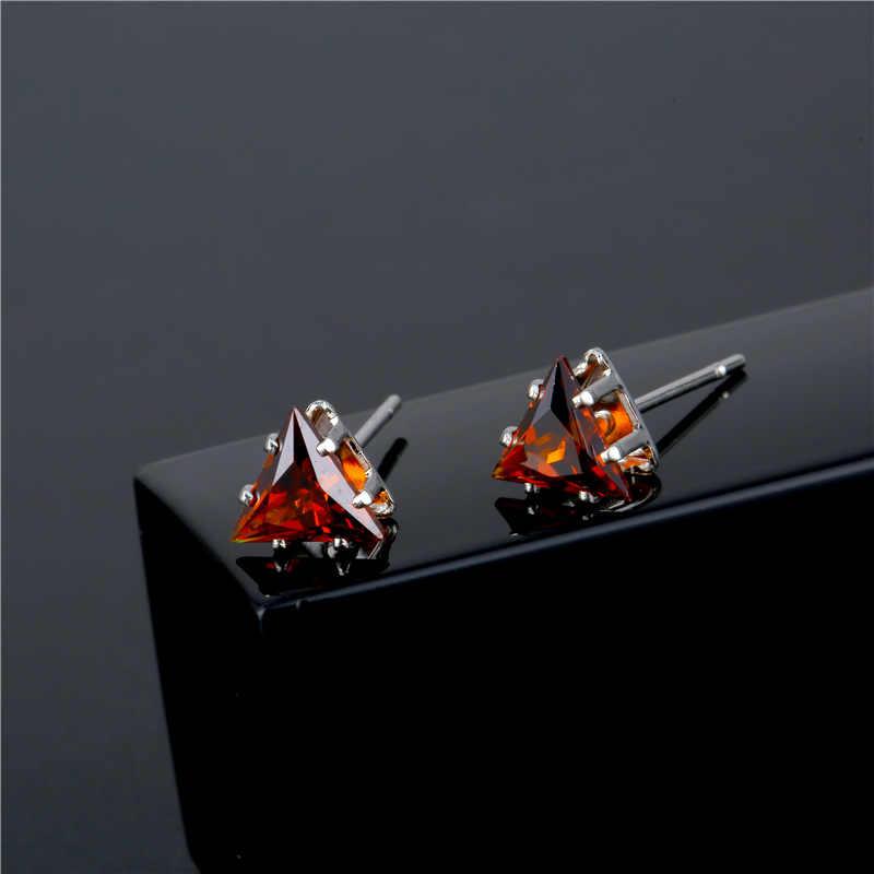 แฟชั่น CZ คริสตัลสามเหลี่ยมต่างหูสตั๊ดสำหรับผู้หญิงสาวเล็กขนาดเล็ก 6 มิลลิเมตรเงินสีขาวสีแดงสีชมพูต่างหู brinco เครื่องประดับ