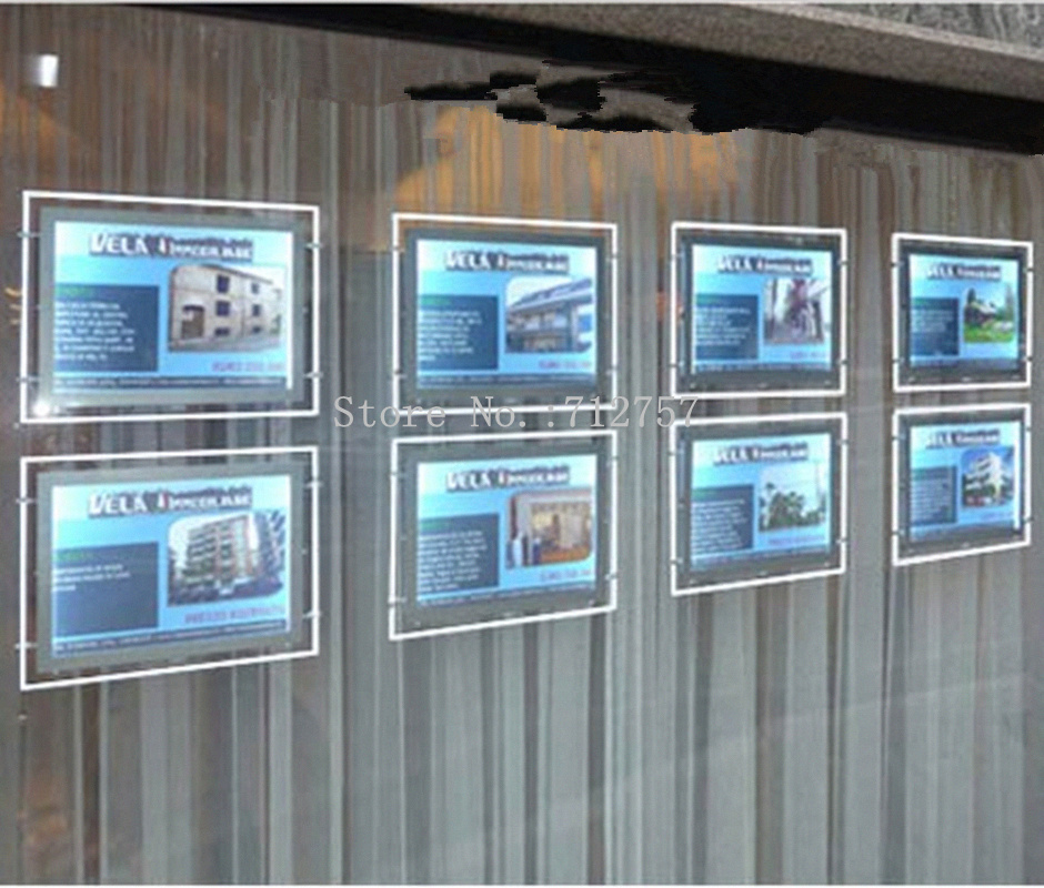 8pcs Real Estate Agent Led Window Display A3 Acrylic