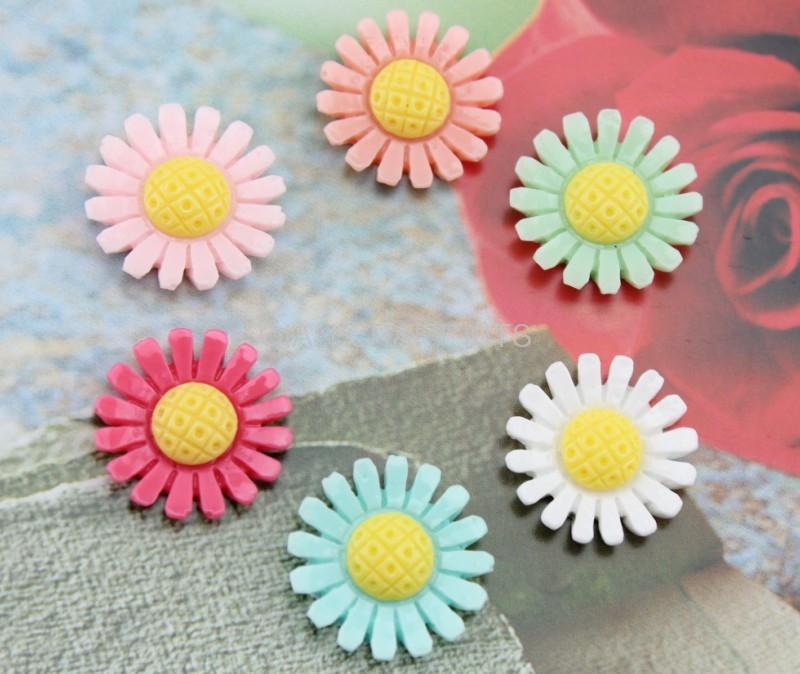 200pcs decoden daisy mum sunflower Resin Flower Cabochons cab 23mm mixed colors for cell phone decor,jewelry sets- 2 tones