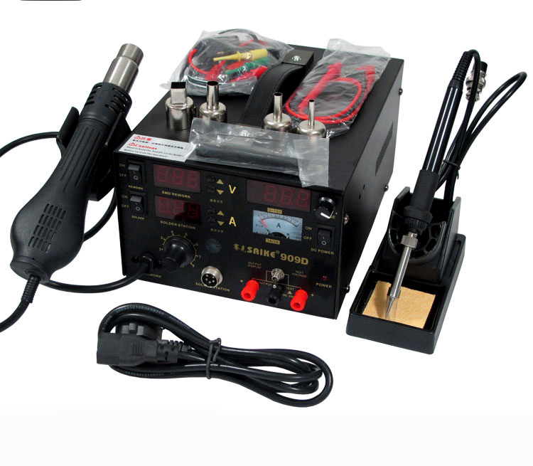 3 in 1 Hot Air Gun Rework Station 909D 15V 2A + Soldering Station Air Soldering Station Desoldering Station Soldering Machine