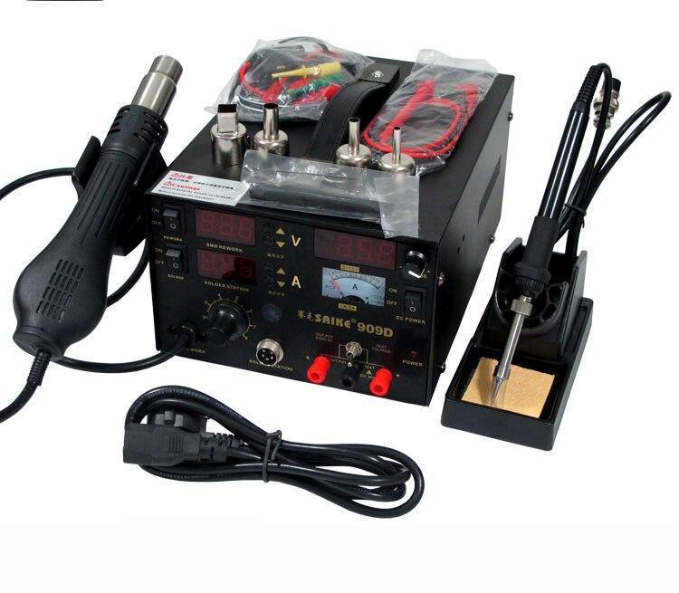 3 in 1 Hot Air Gun Rework Station 909D + Soldering Station Power Supply 15v2a  Soldering Machine