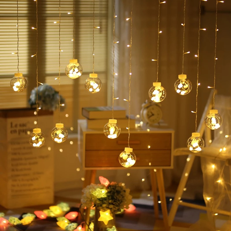 Fairy Garland LED Ball String Lights For Wedding Christmas Birthday Party Festival Decor LED Lights Decoration Curtain Lights-in Lighting Strings from Lights & Lighting