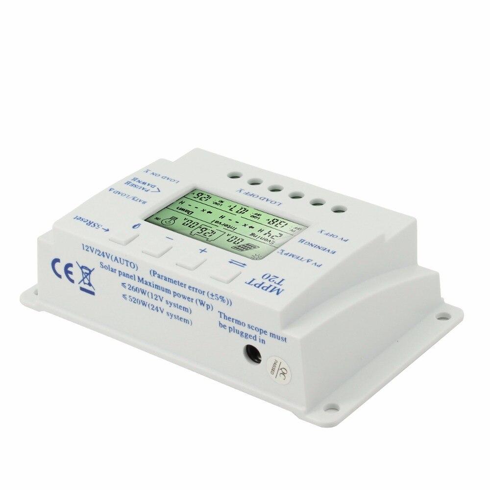 Image 2 - MPPT 20A Solar Panel Controller 12V 24V Solar Controller Dual Timer Function for PV lighting System LED T 20 Solar Regulator-in Solar Controllers from Home Improvement
