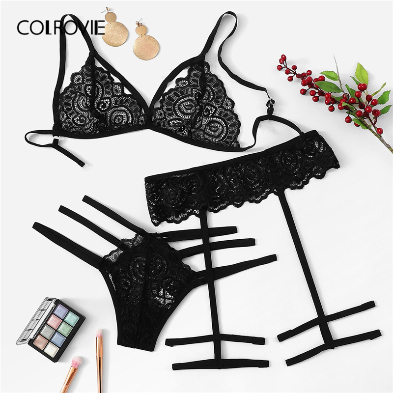 COLROVIE Black Harness Lace Garter Sexy Lingerie   Set   Women Intimates 2019 Red See Through   Bra   And Thongs Female Underwear   Set