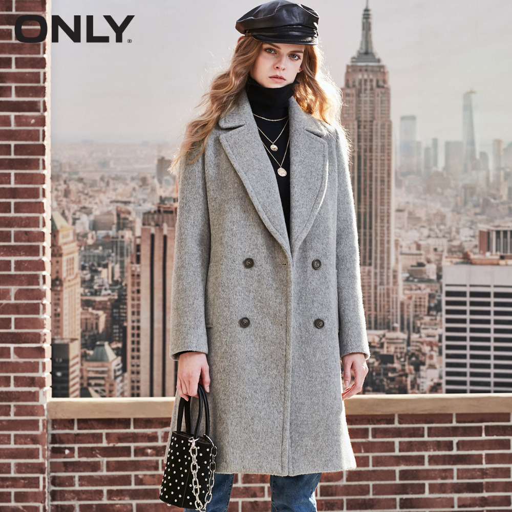 ONLY  womens' winter new wool long thick woolen coat Fixed waist belt Double breasted Double breasted design|11834S543