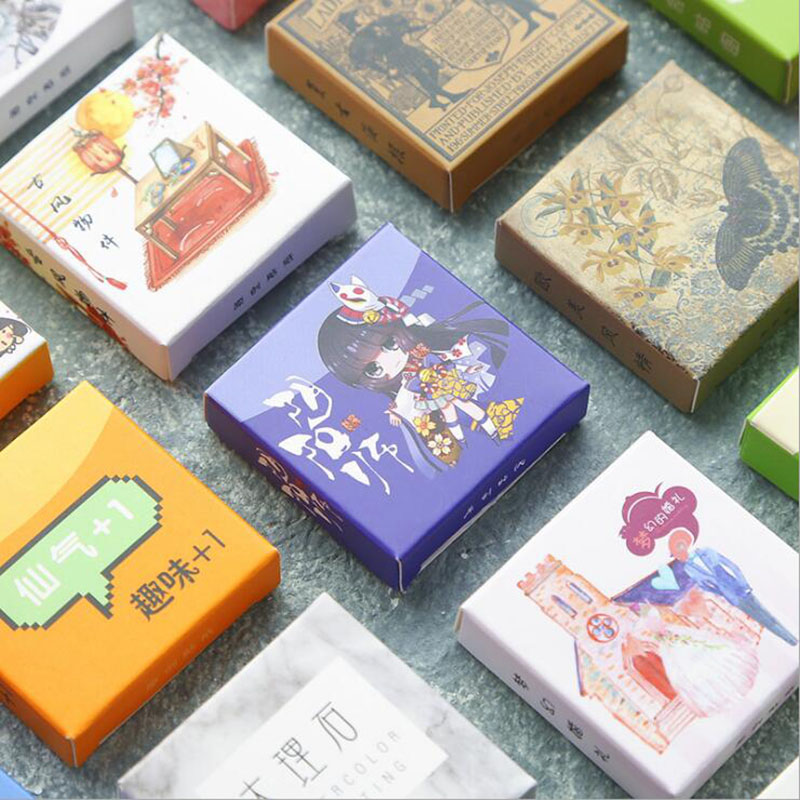 Variety Of Cute Little Girls Cartoon Food Expressions Boxed Stickers Diy Label Japan Korea Diary Paper Travel Seal Sticker40pcs