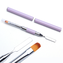 1pcs Double Head UV Poly Gel Nail Brush Acrylic Stainless Steel Extension Drawing Building Pen Color Palette Nail Tools TR064