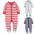 Pijamas infantiles Mamelucos de Los Bebés de Los Mamelucos Rayados Bebé Mono Del Mameluco Del Bebé Recién Nacido Niños Niñas Invierno Ropa Traje de Bebé