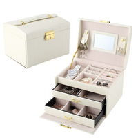 JULY S SONG White PU Leather Packaging Display Box Elegant 3 Layers Jewelry Storage Box Organizer