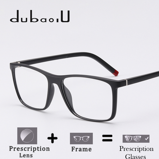 d7d2e2cbb3 TR90 Prescription Glasses Men Brand Designer Square Clear Computer Optical  Myopia Prescription Eyewear Fashion  MZ04-05