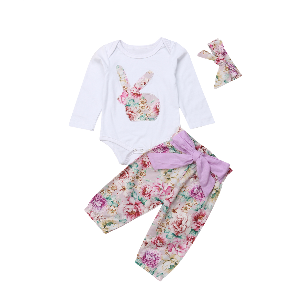 9ad4eb52cf21 Easter Newborn Baby Girls Bunny Romper Jumpsuit Flower Pants Outfits ...