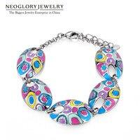 Neoglory Jewelry Multicolor Enamel Bangle For Female Women Power Energy Bracelet Fashion Ethnic Style Gifts Hot