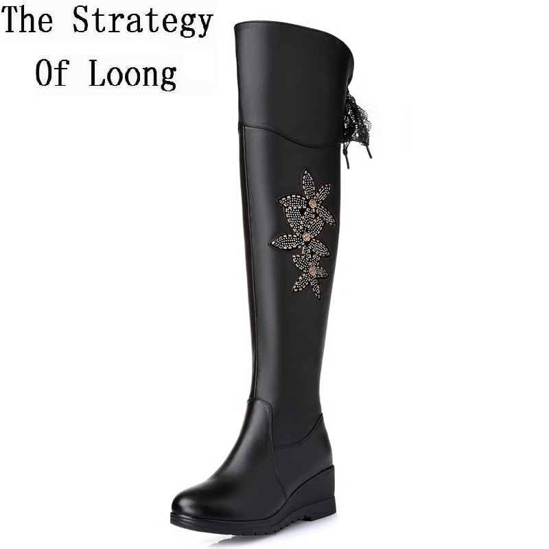 Women Full Grain Leather Thigh High Boots Comfortable Thick Warm Long Boote Crystal Flowers Lace Up Boots 20161215