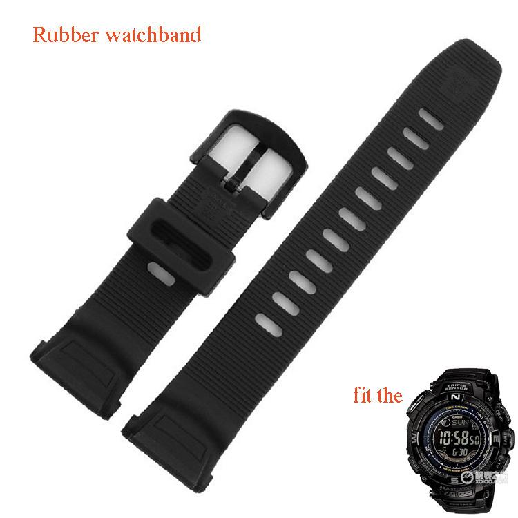 Prix pour Noir spécial bracelets en caoutchouc sport montres ceinture bretelles fit PRG-130Y/PRW-1500Y Escalade natation montre accessoires étanche