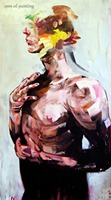 Handcraft Portrait Oil Painting on Canvas Abstract Figure Body Knife Painting Picturer in Calligraphy and Painting