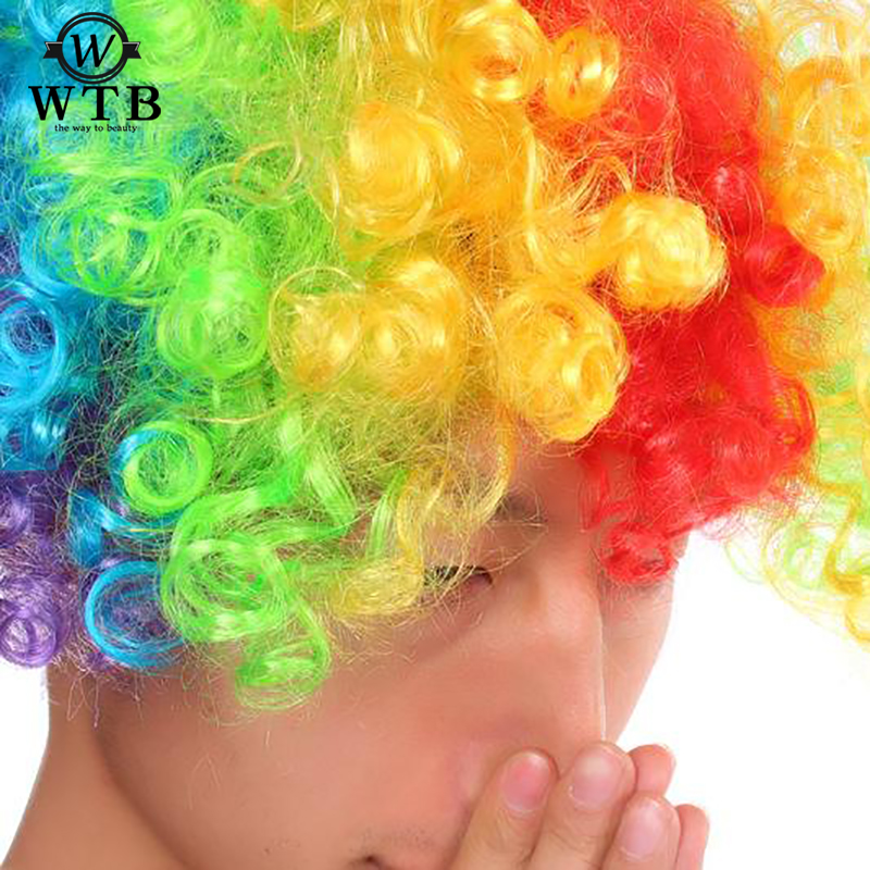WTB Colored short curly hair fans cosplay Wigs Short Curly Wig Costume for African American Red Black Multicolor