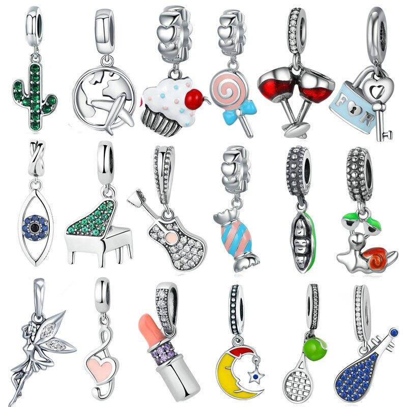 INBEAUT Women Lovely Zircon DIY Enamel Charms 925 Sterling Silver Clear CZ Cute Piano Guitar Pendant Beads fit Pandora Bracelet