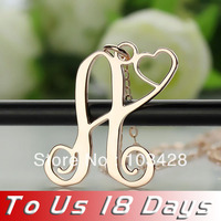 Freeshipping A Pcs Of My Heart One Initial Name Necklace In Rose Gold Monogram Nameplate Necklace