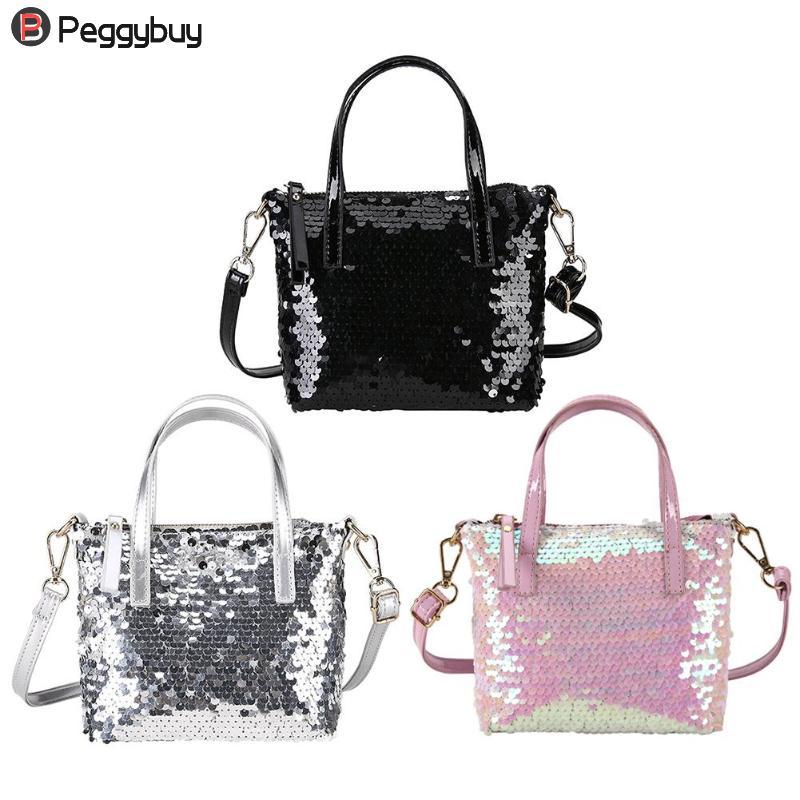 Fashion Sequined Messenger Bag Quality Leather Womens Flap Bag Chain Strap Female Shoulder Bag Lay Crossbody Bag Party Handbag