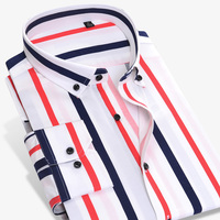 Long Sleeve Button Down Collar Men's Striped Shirts Comfortable Soft Cotton Shirt Slim Fit Smart Casual Male Tops Shirts