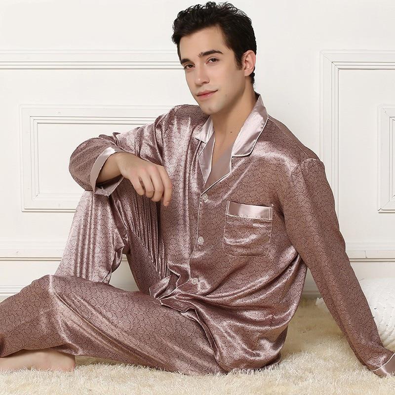 Cardigan Loungewear Pajamas Silk Men's Long-Sleeved Spring Casual And Autumn Household