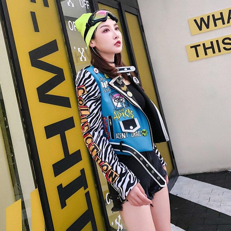 Patrón Mujeres Larga Chaquetas Pu Las 2019 Cuero Color Primavera Moda Punk Y Manga Chaqueta De Photo Remache Sintético Cebra Abrigos wFdfqxSYd