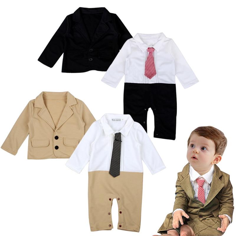 cbd1995ab0a22 2017 New Spring Baby Boys Clothing Set Gentleman Tie Romper + Jacket ...