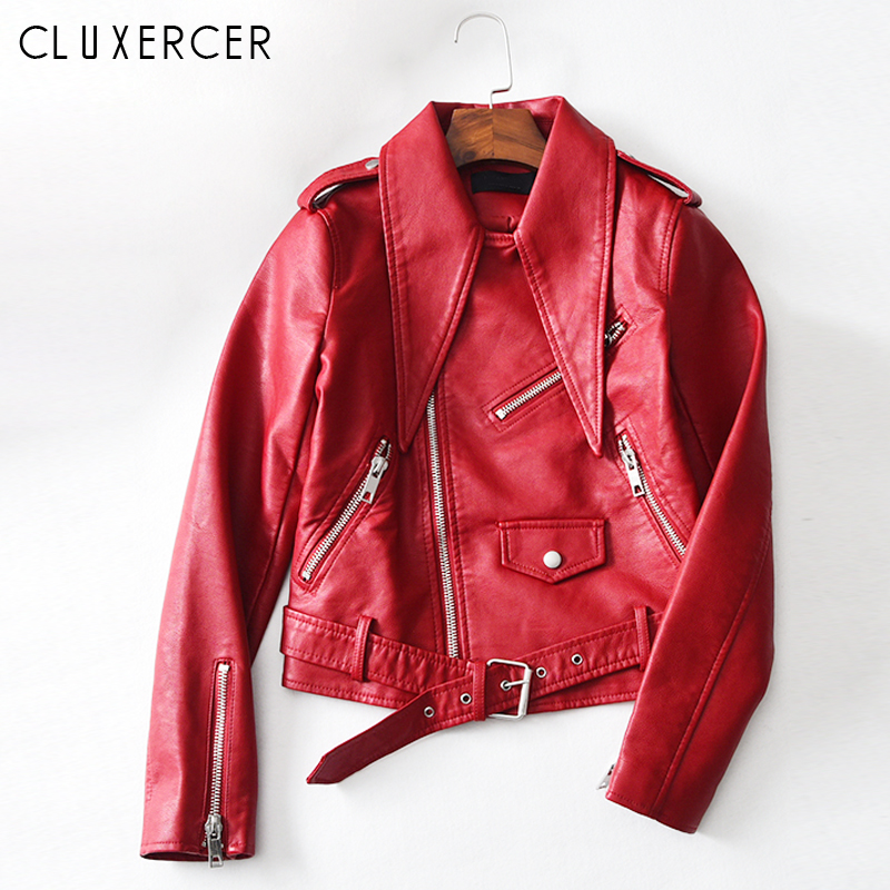 Pu Leahter Jacket Women Fashion Red Black Motorcycle Leather Top Short Style Faux Leahter Biker Jacket