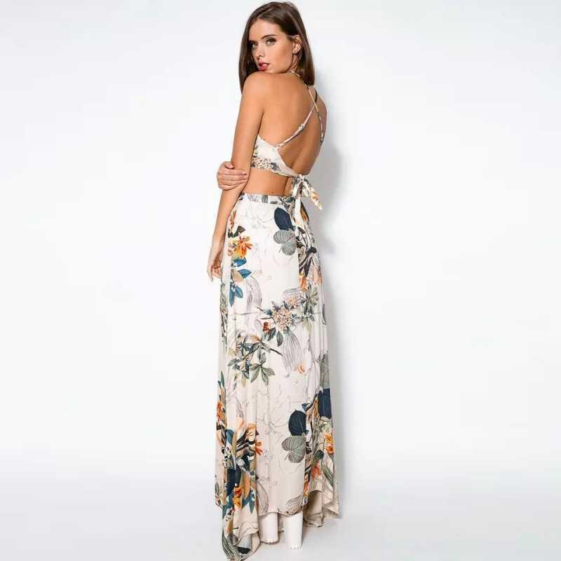 f5dcc565f ... Newest Summer Women Dress 2 Pcs Set Crop Tops Bodycon+Long Maxi Skirt  Party Floral ...