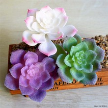 1pcs Green Purple White Lotus Flower Artificial Succulent Plants Floral Arrangement Accessories Fake planta artificial