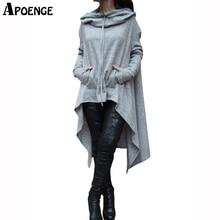 APOENGE Plus Size 4XL 2017 Autumn Womens Hoodie Harajuku Scarf Collar Hoodie Dress Ladies Oversized Pockets Sweatshirt QN325