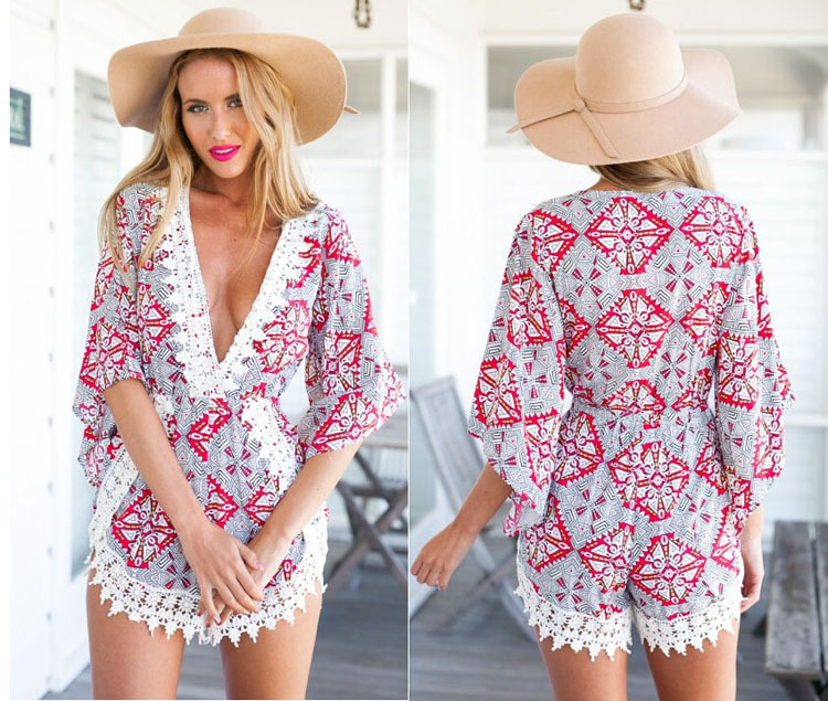 1f3fcfd3165 2016 Hot Sale Summer Rompers Womens Sexy Jumpsuit V Neck Bodysuit Casual  White Lace Floral Elegant Jumpsuits Rompers New-in Rompers from Women s  Clothing ...